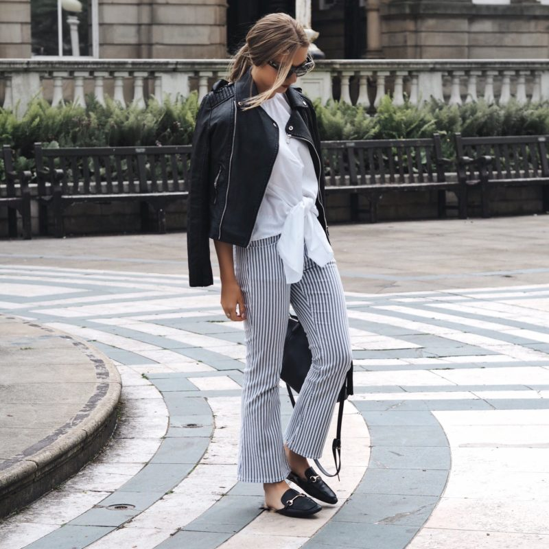 blue and white striped trousers
