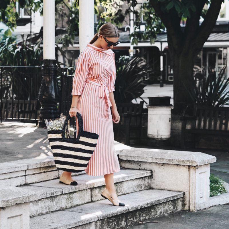 striped orange dress
