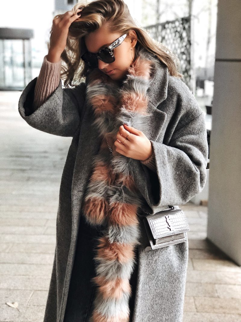 grey and pink fur scarf