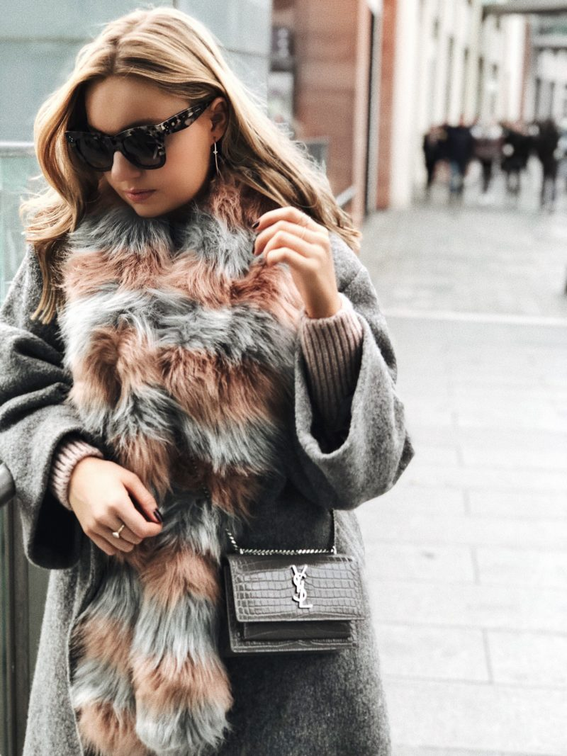 striped fur scarf