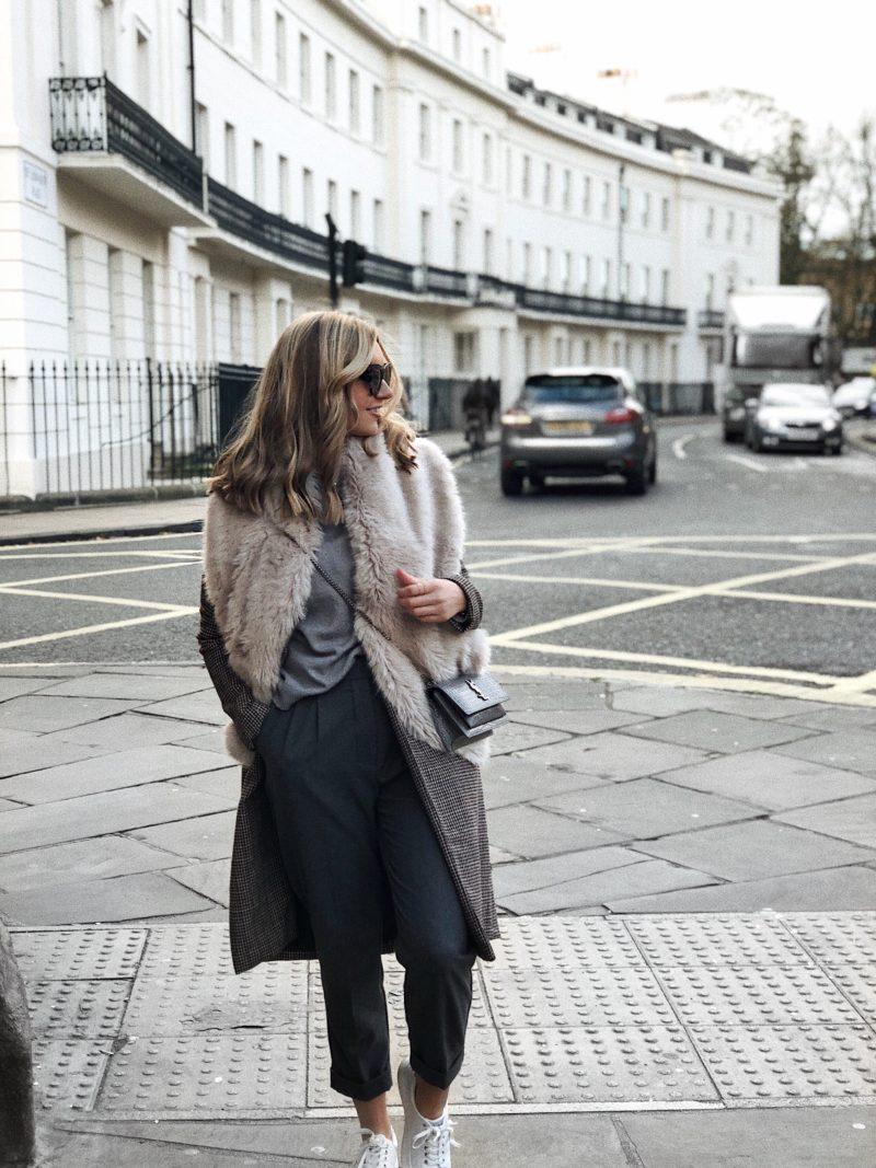 cream faux fur scarf