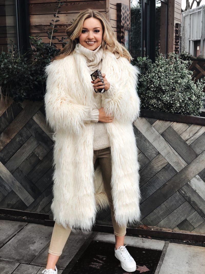 cream fluffy coat