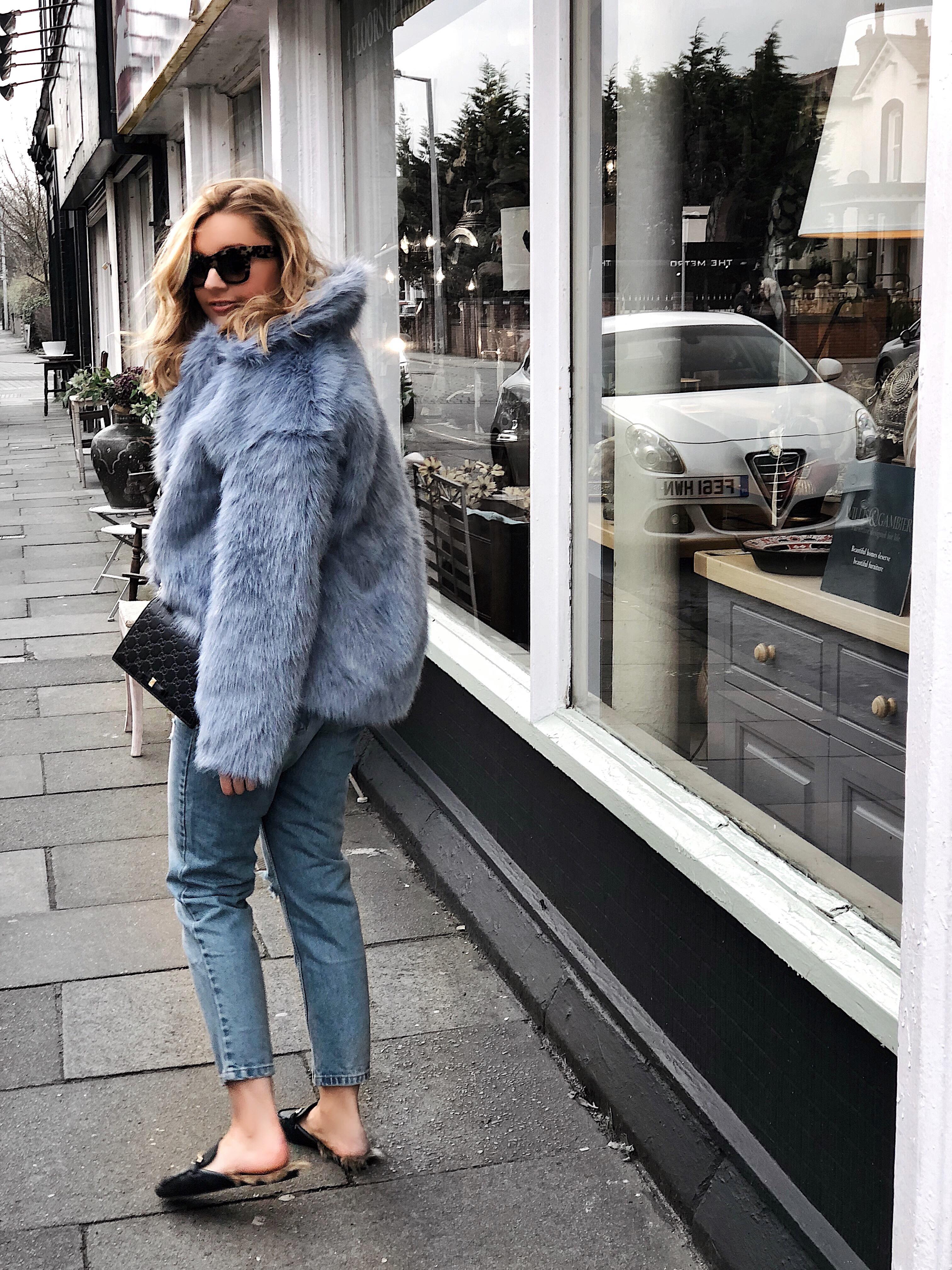 blue fur coat