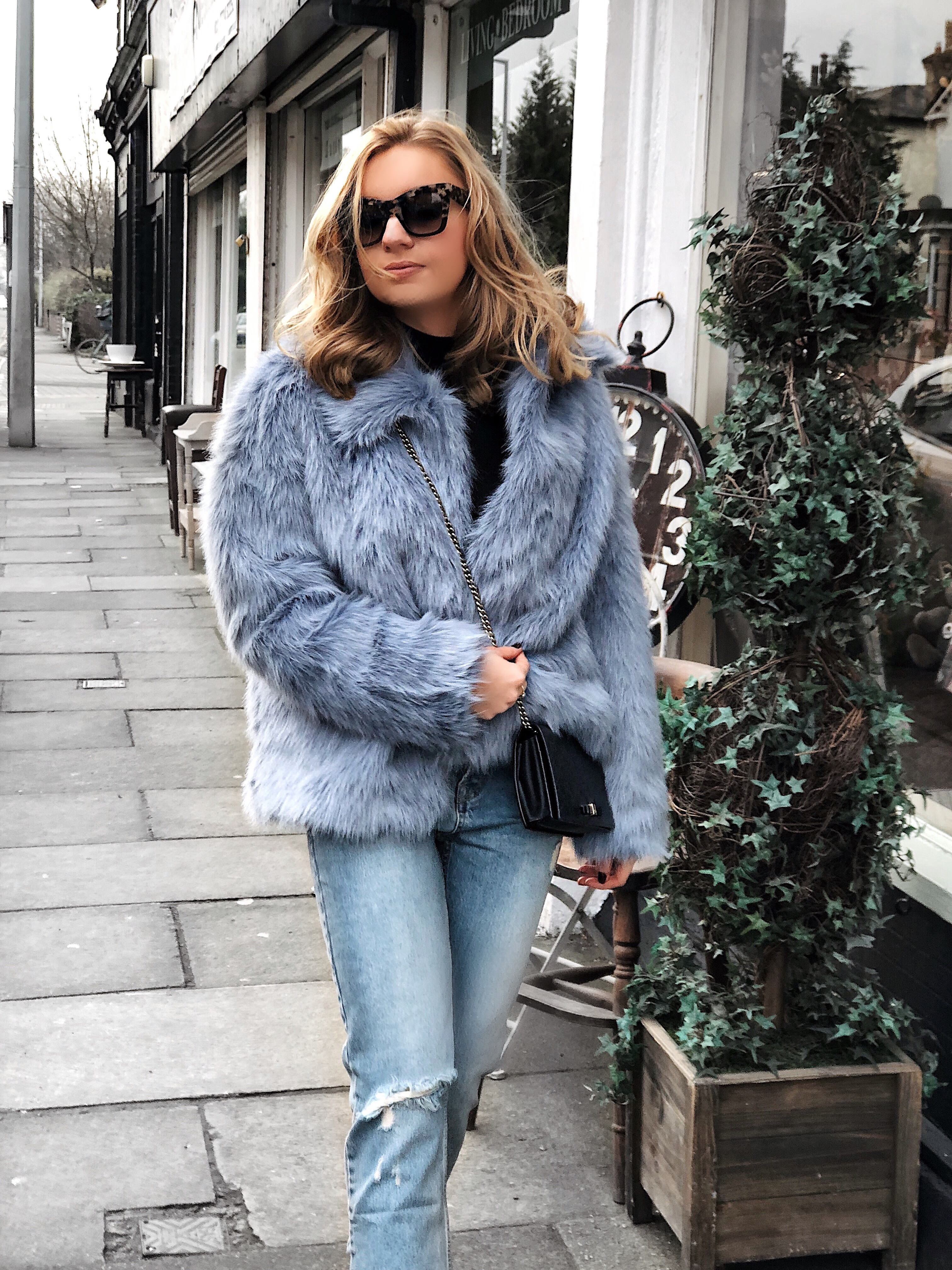 blue furry coat