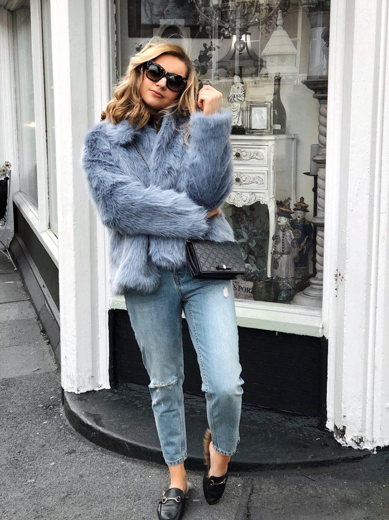 light blue fur coat