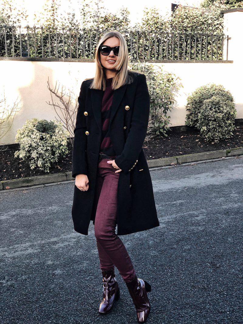 burgundy wax trousers