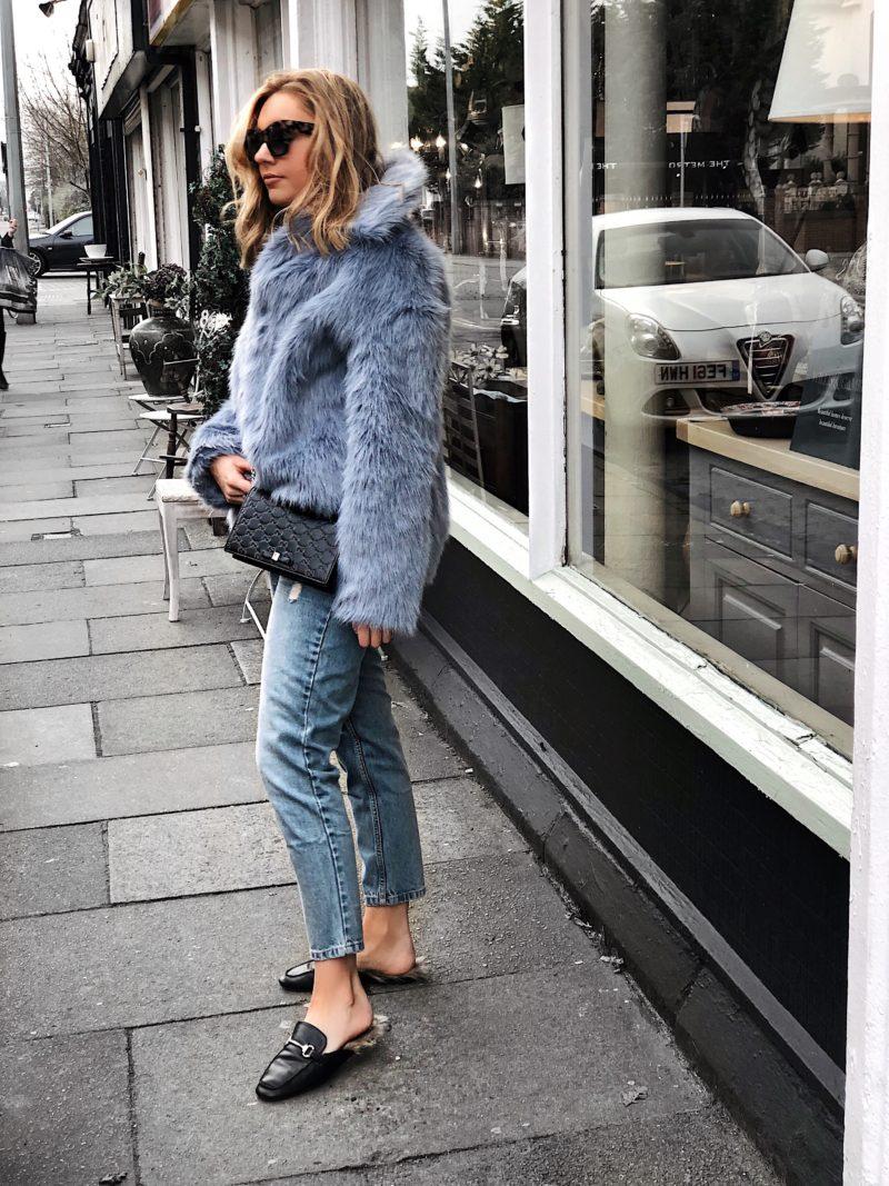 coloured fur coat