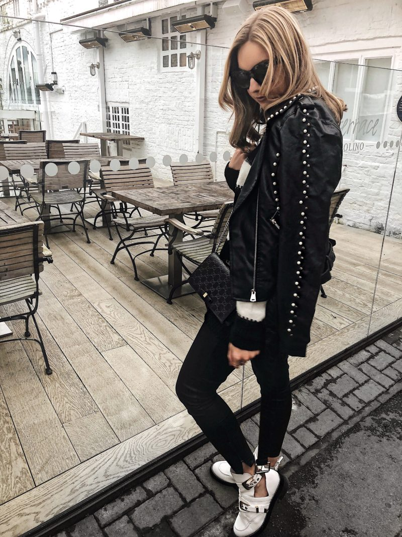 pearl embellished jacket