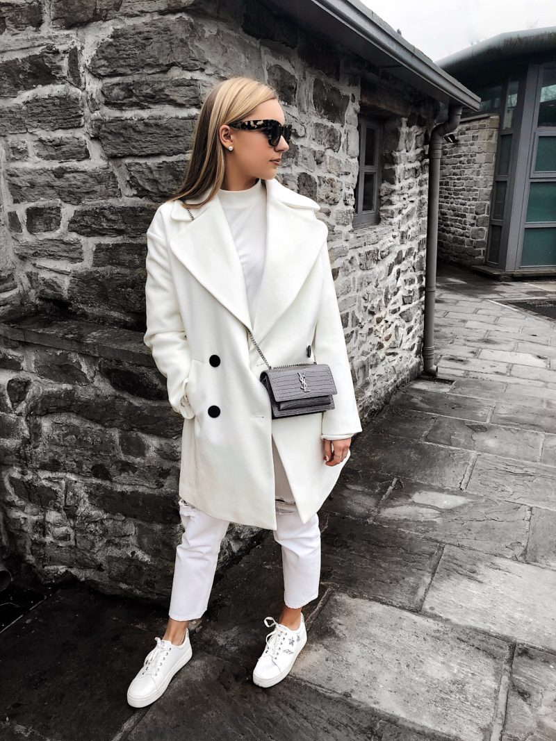 white asos coat